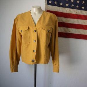 Vintage linen Chaus mustard yellow top jacket